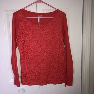 Long Sleeve Lace Detail Top
